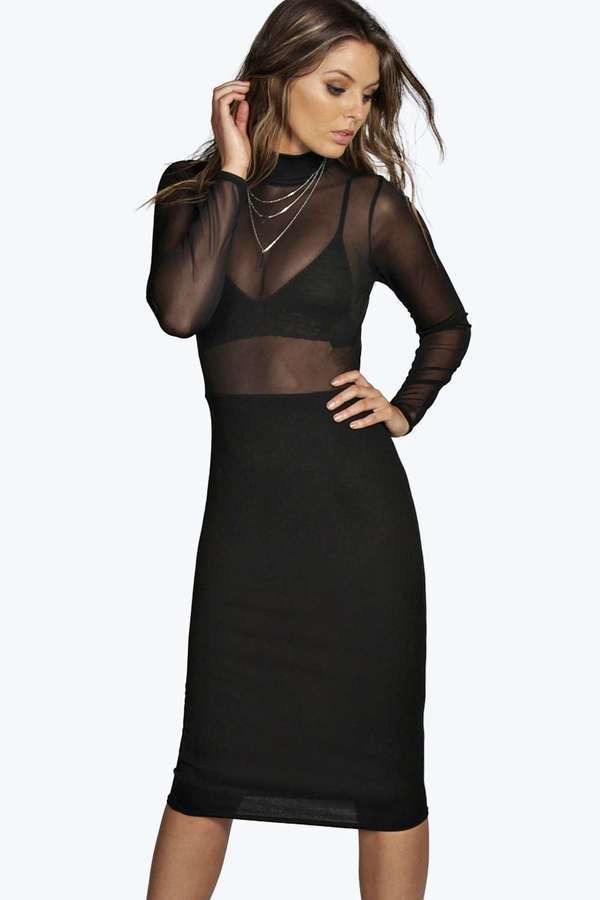 High Neck Midi Bodycon Dress - For Beautiful Ladies