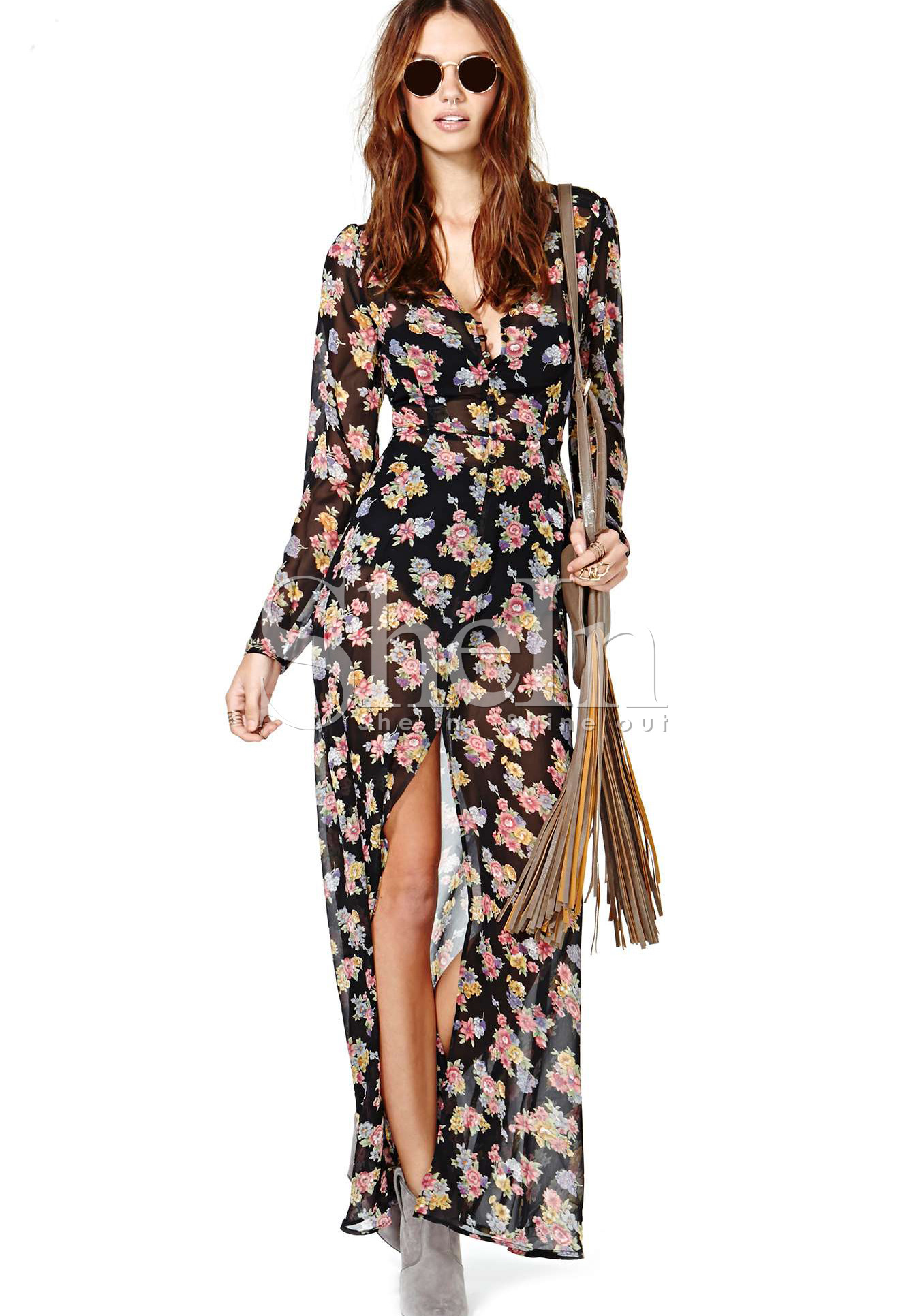 41da7ff574b Long Sleeve Floral Black Maxi Dress