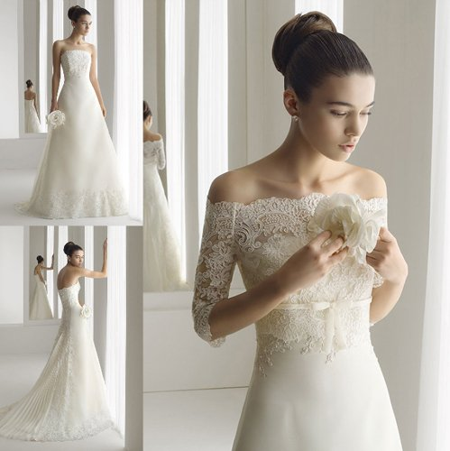 Off the shoulder lace gown make you look thinner for Wedding dresses that make you look skinny