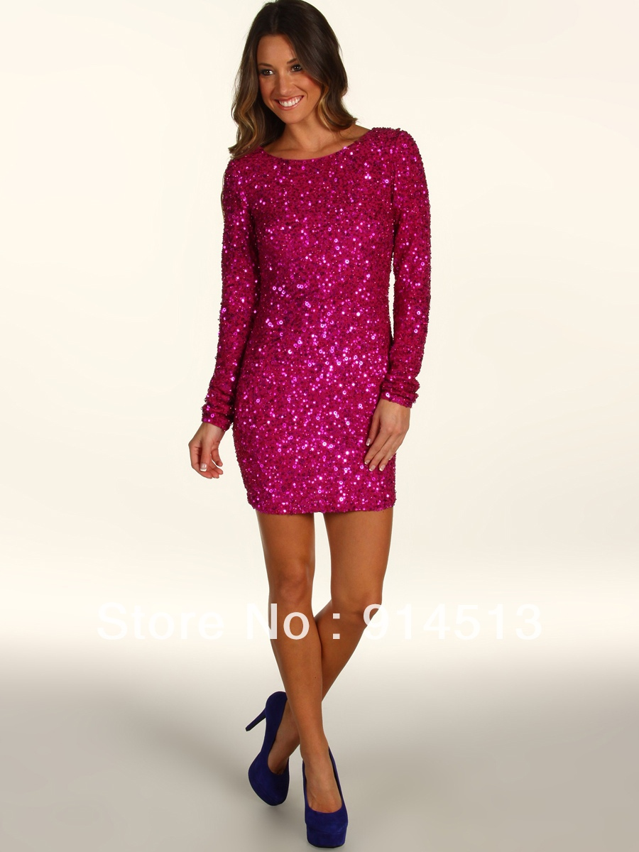 Pink Sequin Long Dress - For Beautiful Ladies