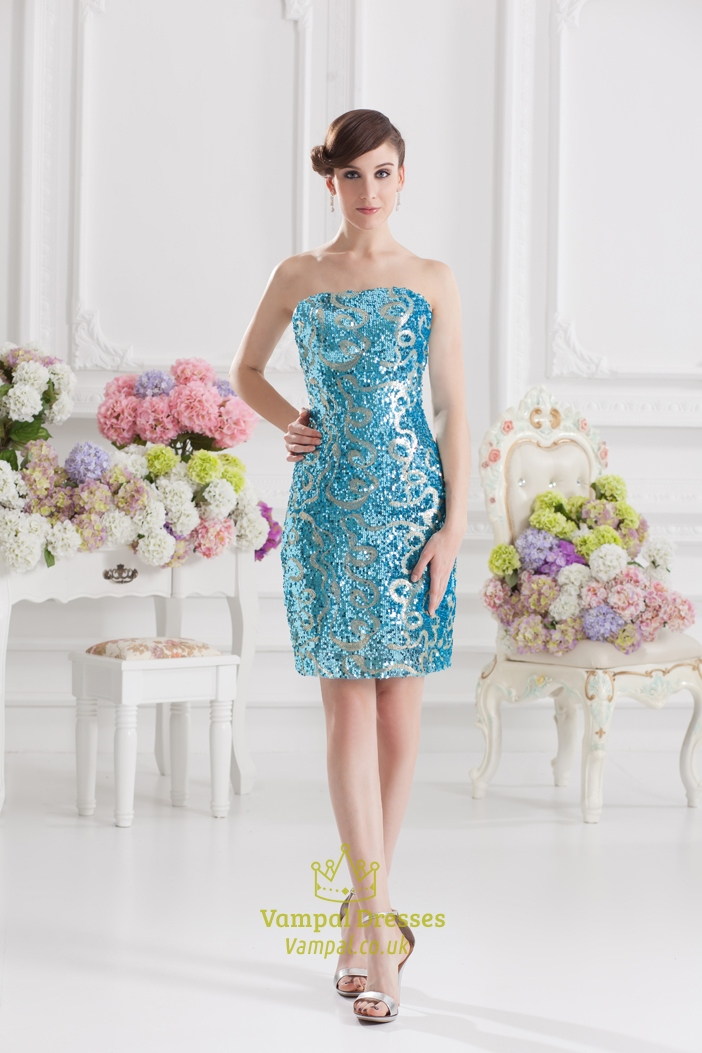 Short Blue Sequin Dress - Make Your Evening Special