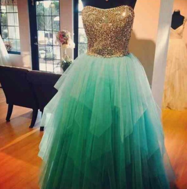 Gold And Green Prom Dress : Style 2017-2018