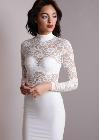 High Neck Midi Bodycon Dress - For Beautiful Ladies