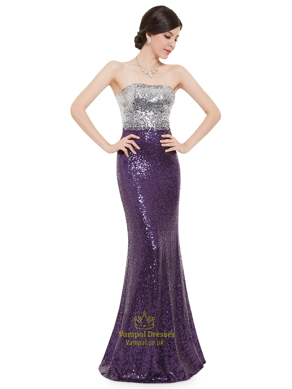 Strapless Silver Sequin Dress : Special In 2017-2018