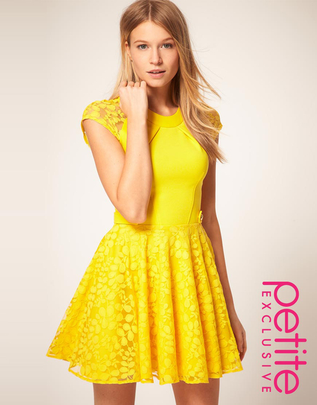 Yellow Lace Dress With Sleeves - Help You Stand Out